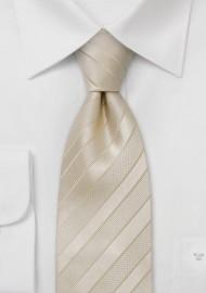 Cream colored striped silk tie