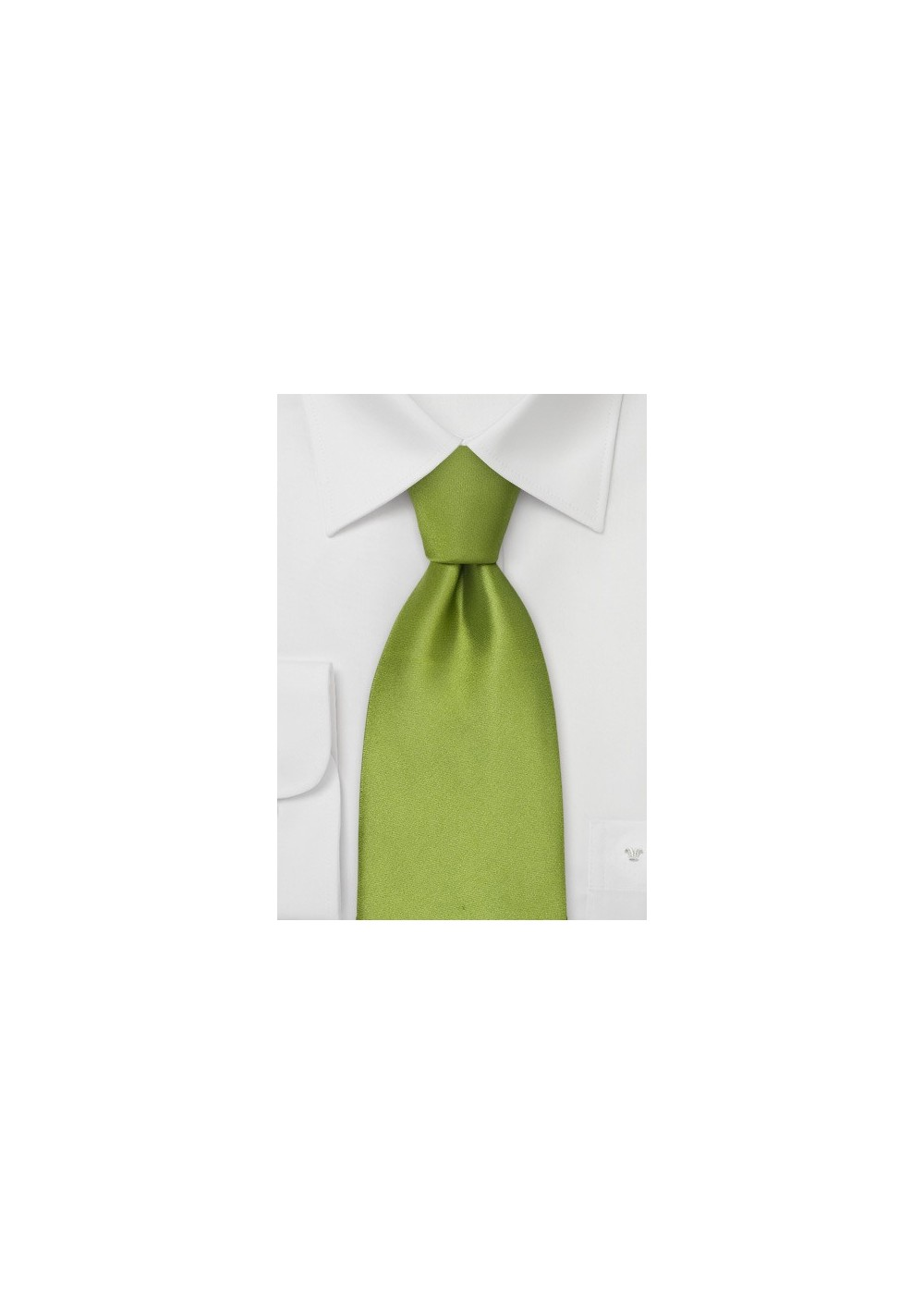 Sage green silk tie - Solid color bright green necktie
