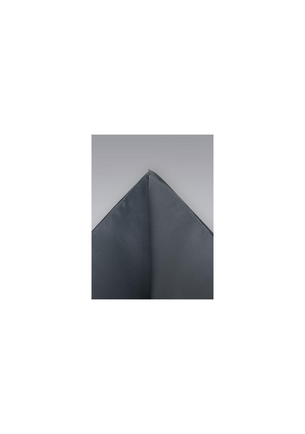 Gray pocket square -  Solid color dark gray hankie