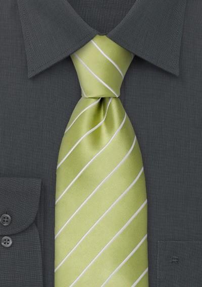 Green neckties - Striped, lime green necktie