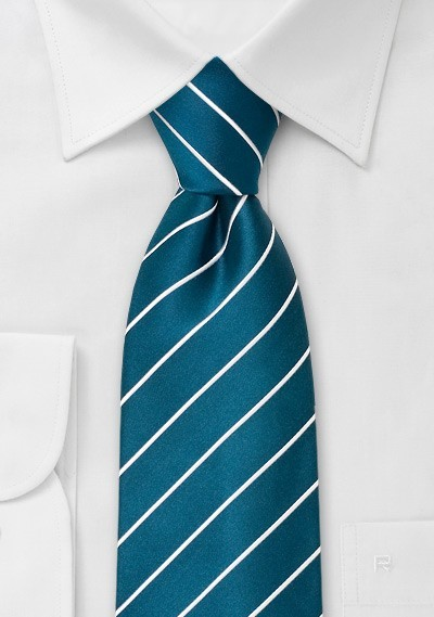 Striped men's ties - Turquoise blue necktie