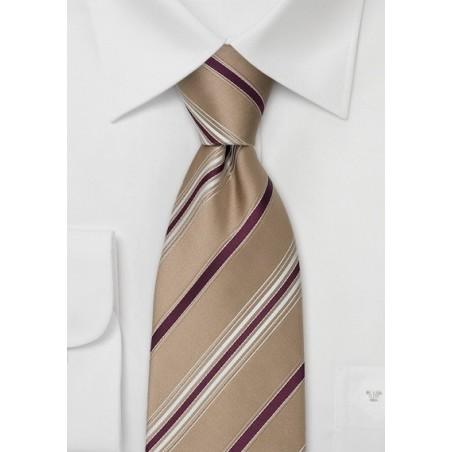 Tan & Burgundy Striped Tie in XL by Cavallieri