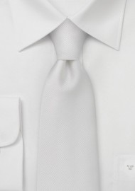 White Mens Ties - Pure White Ribbed Tie