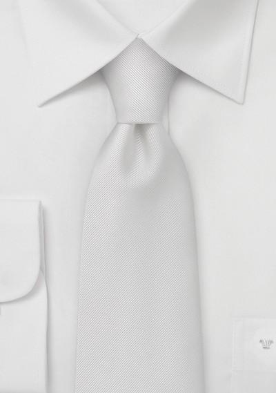 White Mens Ties - Pure White Ribbed Tie