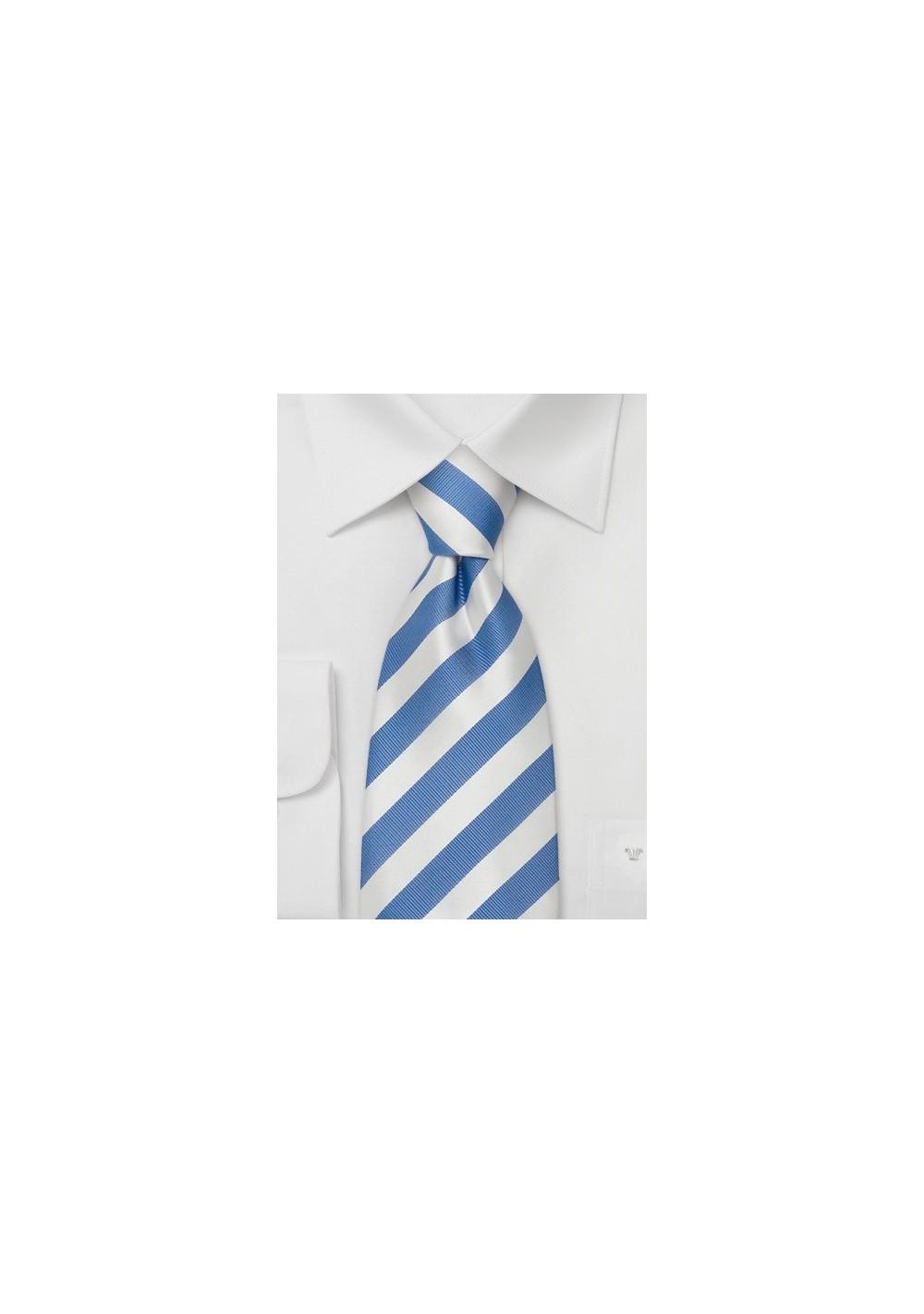 Striped Neckties - Light blue & white striped silk tie