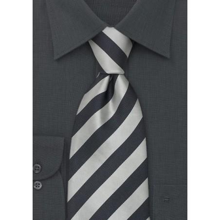 Striped Silk Ties - Gray & Silver Striped tie