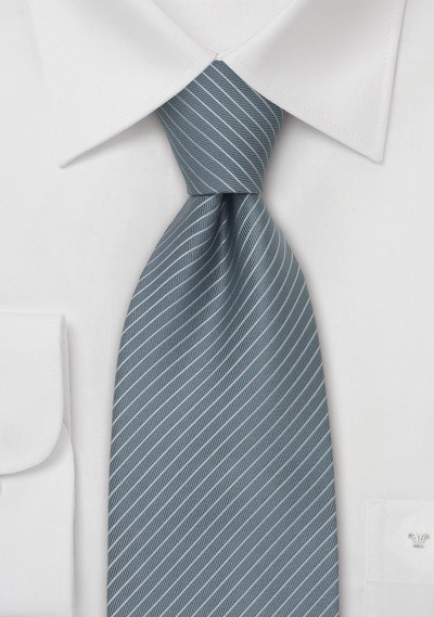 Gray Mens Ties - Fine Striped Tie in a Slate Gray Color