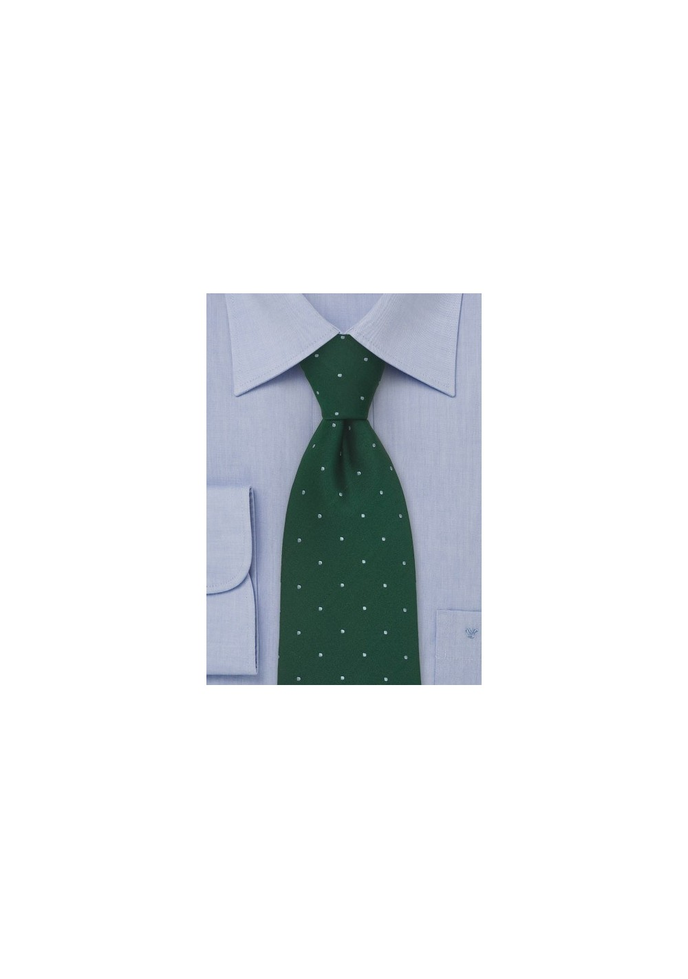 Polka Dot Silk Tie by Chevalier in Hunter Green and Light Blue