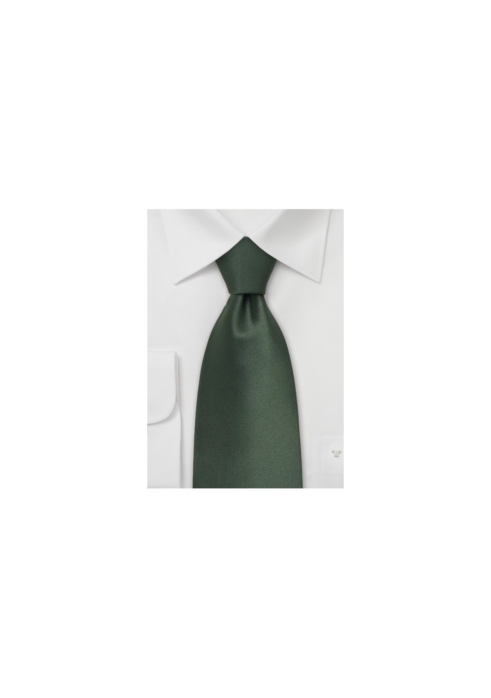Dark Green Necktie in XL Length