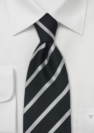 Black and Silver Striped Silk Tie