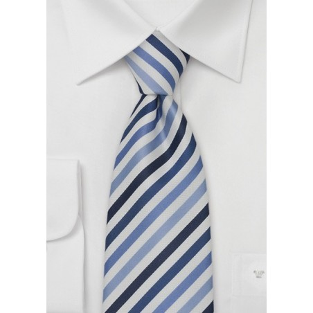 Modern Blue and White Striped Mens Tie