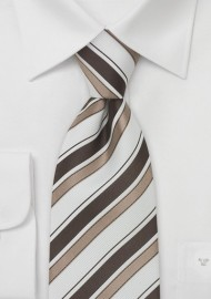 Modern Striped Silk Tie in Brown and White