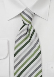 Green, Gray, Silver Striped Mens Tie