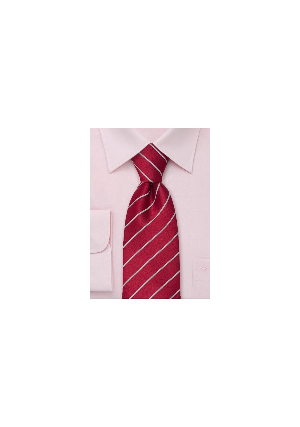 Wine Red Striped Tie in XL Length