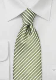 Spring Green Striped Necktie