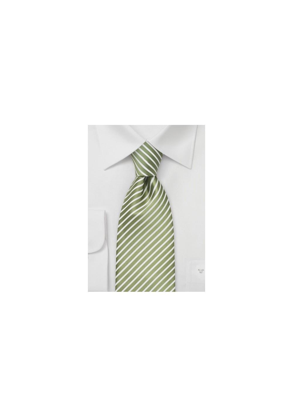 Spring Green Striped Necktie