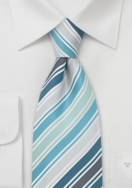 Mens Silk Tie by Cavallieri in Turquoise, Teal, Silver