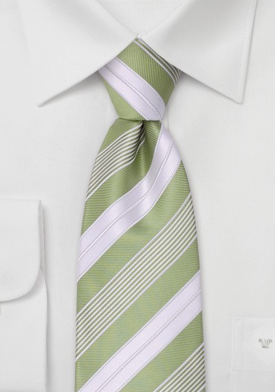 Striped Kids Tie in Lime-Green and White