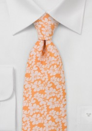 Peach Orange Floral Tie