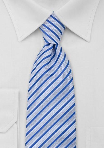 Striped Necktie in Light Blue White