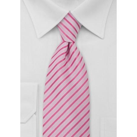 Striped Tie Hot Pink White