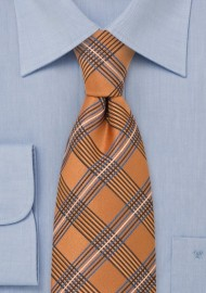 Orange Plaid Pattern Silk Tie