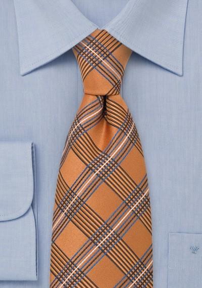 Orange Plaid Pattern Silk Tie