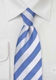 Light Blue and White Striped Kids Tie