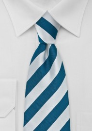 Teal and Silver Striped Necktie