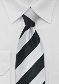 Elegnat Black and Silver Striped Mens Necktie