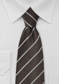 Dark Brown Tie with Silver Stripes