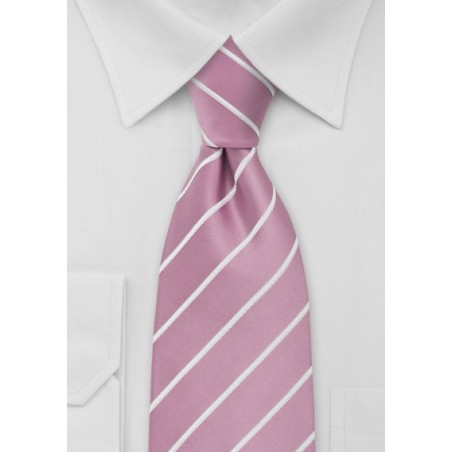 Pink Striped Tie in Pink and White