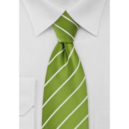 Chartreuse Green Striped Necktie