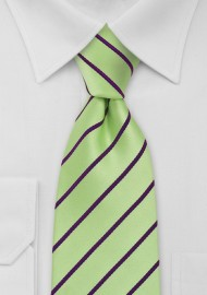 Striped Tie in Mint Green Purple
