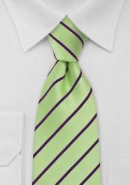 Striped Tie in Mint Green Purple