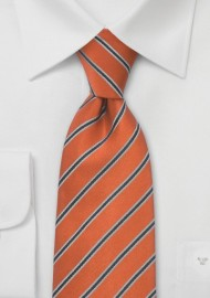 Pumpkin Orange Striped Mens Tie
