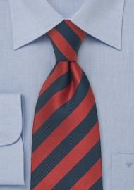 Navy Red Striped XL Necktie