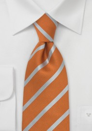 Burned Orange and Silver Striped Tie in XL