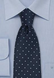 Navy Blue Polka Dot Tie in XL