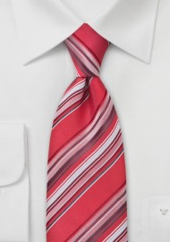Coral Red Striped Necktie