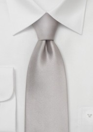 Solid Silver Kids Silk Tie