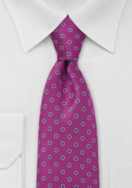Magenta and Silver Polka Dot Tie