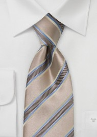 Camel Brown and Blue Striped Tie