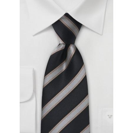 Black and Gold Striped Silk Tie