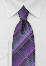 Purple and Gray Checkered Tie