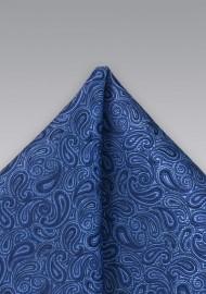 Lapis Blue Paisley Pocket Square