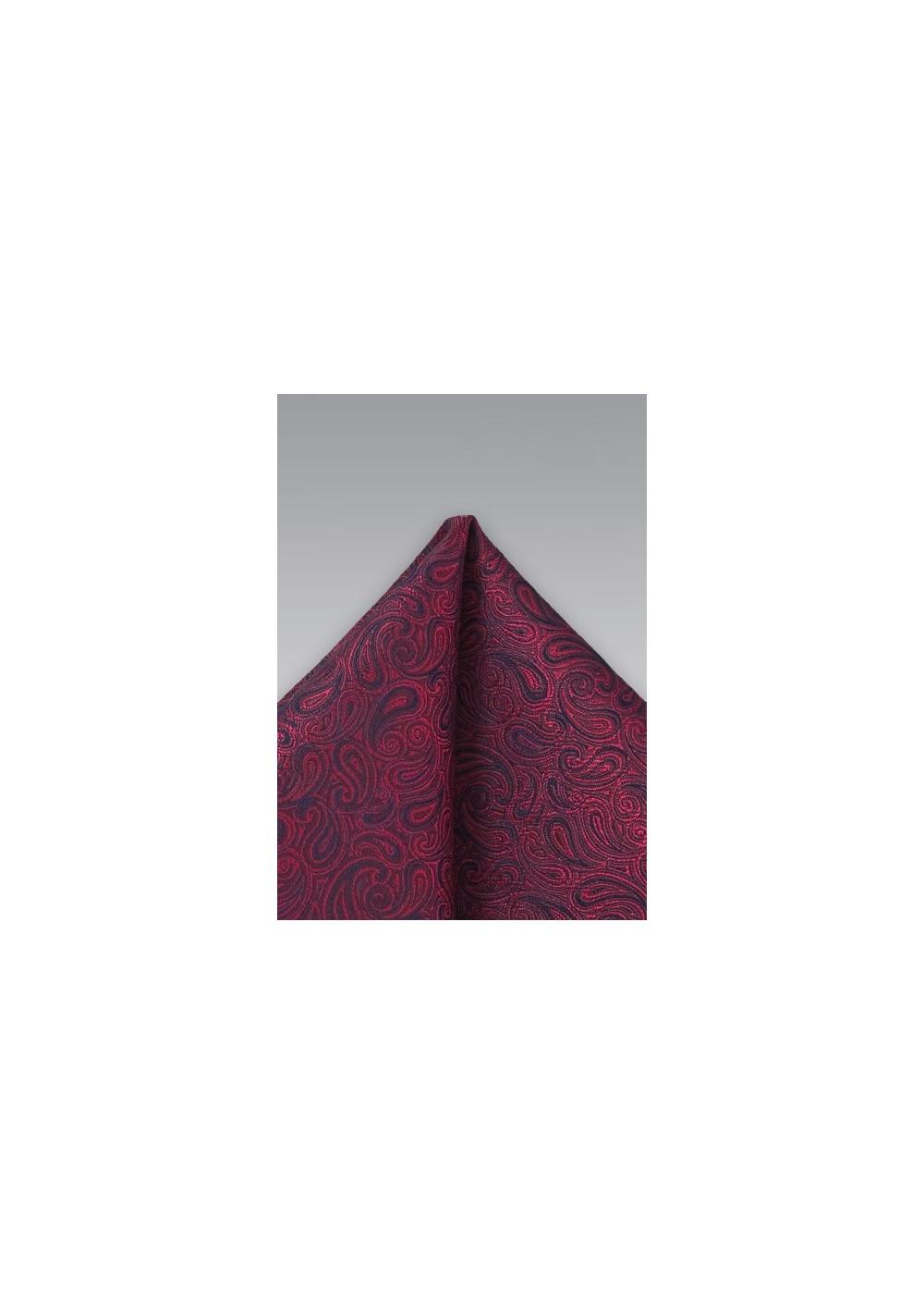 Dark Red Paisley Pocket Squre