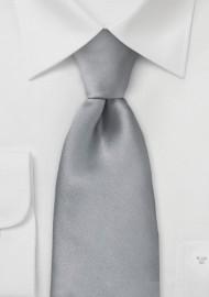 Solid Bright Silver Silk Tie