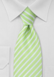 Lime Green and White Striped Tie