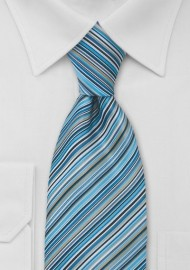 Modern Blue Striped Tie